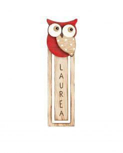 segna libro legno con gufetto rosso