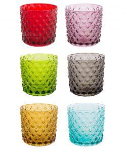servizio bicchieri rombi colori assortiti 6 pezzi vetro linea maya brandani