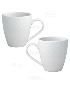 set 2 pezzi tazza mug porcellana bianca linea burlesque brandani