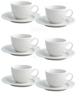 set 6 pezzi tazzine da caffè con piattino porcellana bianca linea burlesque brandani
