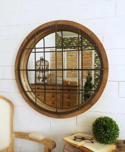 specchio rotondo con grata e cornice legno orchidea milano