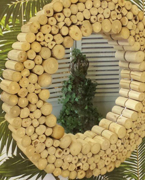 specchio rotondo legno modello natural teak orchidea milano