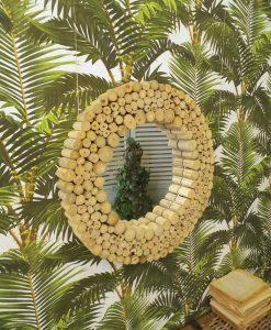 specchio rotondo modello natural teak orchidea milano