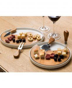 taglieri rotondi porcellana e bamboo con coltellini formaggio brandani