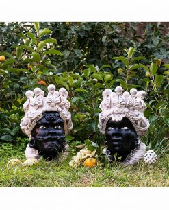 testa di moro coppia donna e uomo nero con copricapo bianco ceramica artigianale