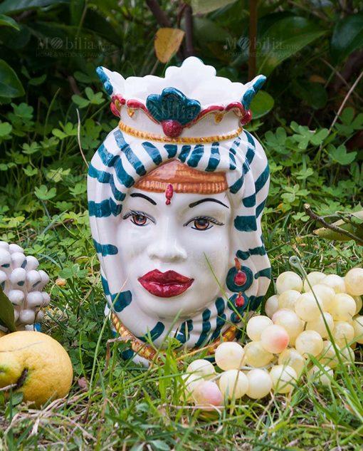 testa di moro donna con copricapo e corona colorata ceramica artigianale caltagirone sicilia
