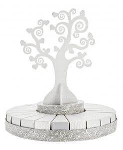 torta grande bianca e argento con albero della vita