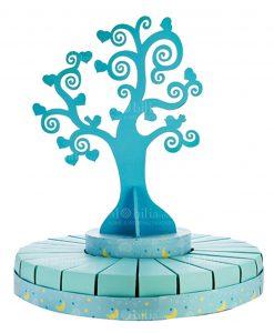 torta grande portabomboniera con albero della vita azzurra bimbo