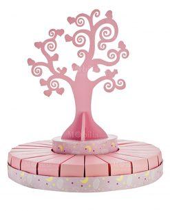 torta grande portabomboniera con albero della vita rosa bimba
