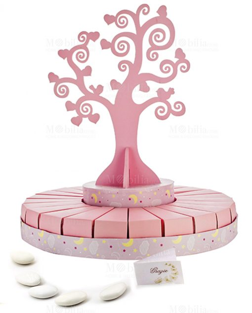 torta grande portabomboniera con albero della vita rosa bimba con confetti