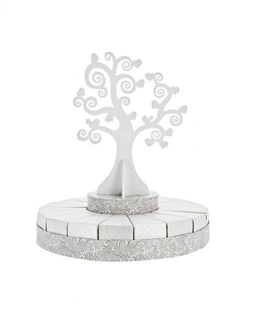 torta piccola bianca e argento con albero della vita