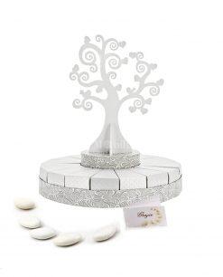 torta piccola bianca e argento con albero della vita con confetti