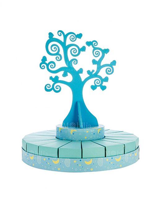 torta piccola portabomboniera con albero della vita azzurra bimbo