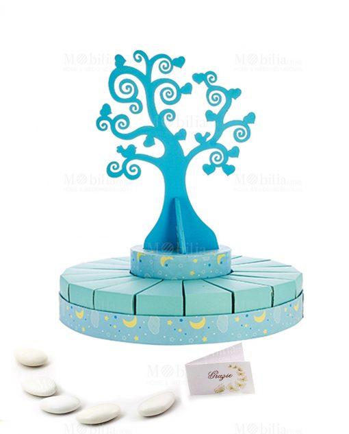 torta piccola portabomboniera con albero della vita azzurra bimbo con confetti