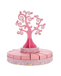 torta piccola portabomboniera con albero della vita rosa bimba