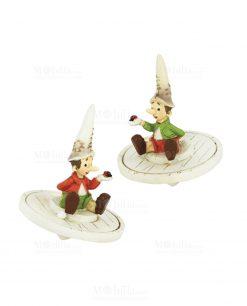 trottola pinocchio due modelli assortiti con cappello bianco e coccinella