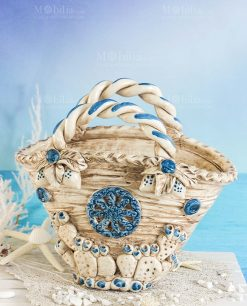 vaso coffa con pala fico dindia tema mare ceramica artigianale caltagirone sicilia