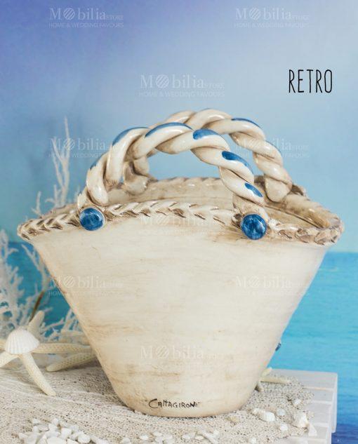 vaso coffa con pala fico dindia tema mare ceramica artigianale caltagirone sicilia retro