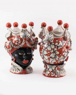 vaso portapiante testa di moro donna ceramica di caltagirone