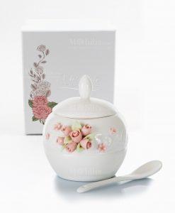 zuccheriera porcellana bianca con cucchiaino roselline morena