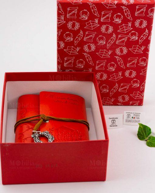 agenda notes cuorio rosso con incisione gufo e scritta laccetto e ciondolo tabor con scatola