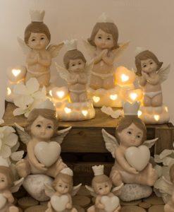 angioletti porcellana lampade led grandi e piccole e sculturine bimbo e bimba