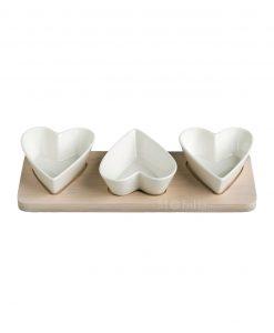 antipastiera 3 pezzi cuore porcellana base bamboo brandani