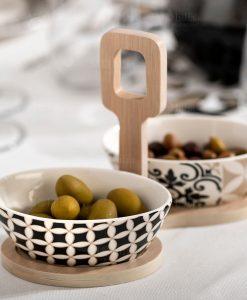 antipastiera porcellana con base bamboo linea alhambra brandani