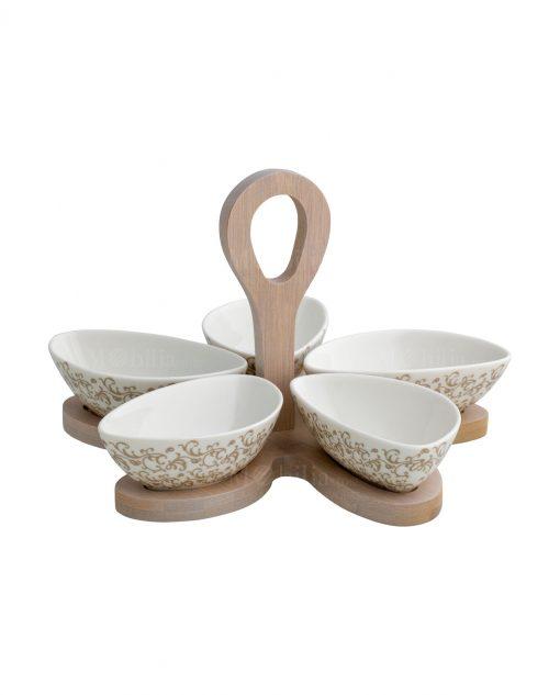 antipastiera porcellana con base bamboo riccioli di fata brandani