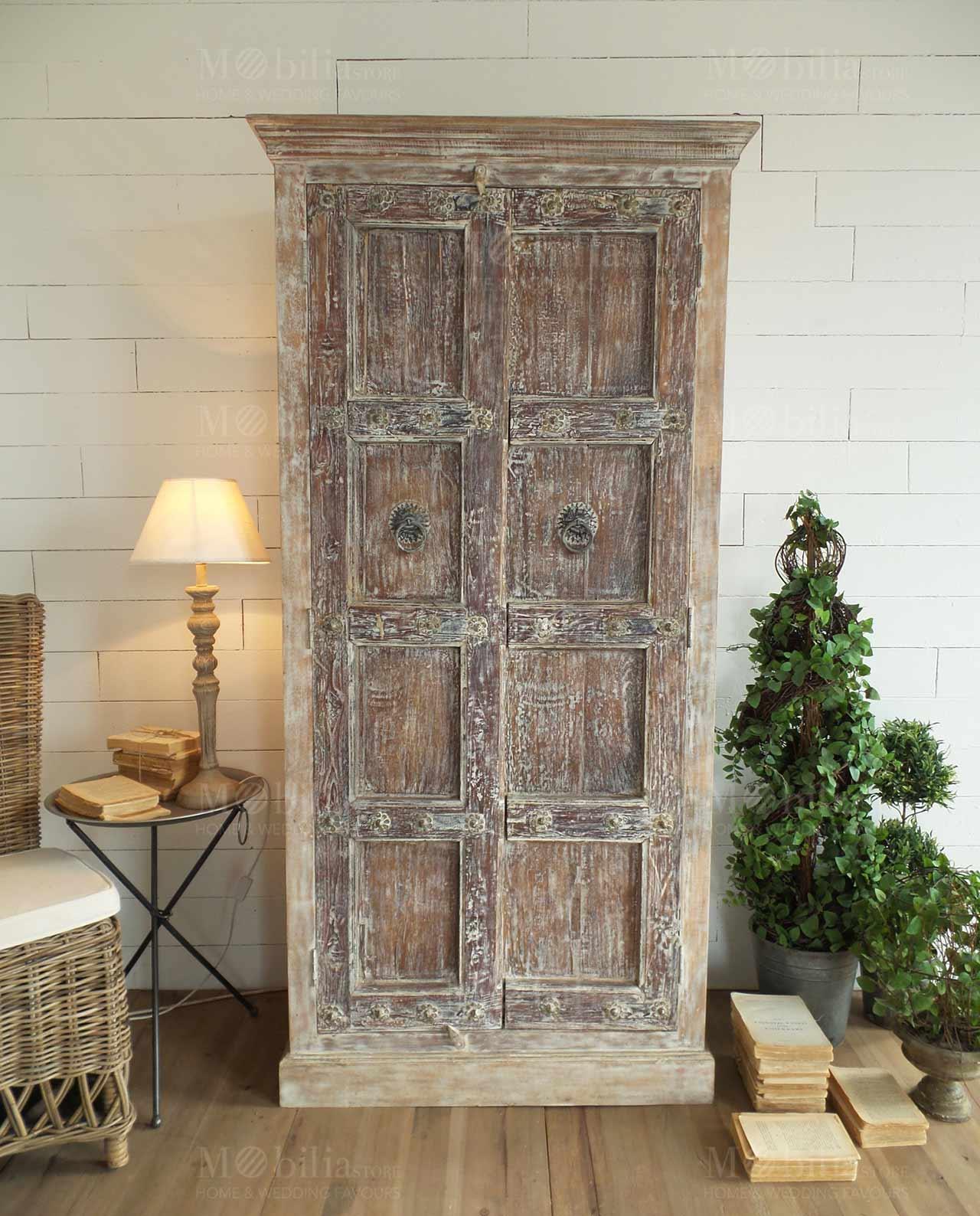 Armadio 2 ante legno di mango mobilia store home favours for Armadio regalo milano