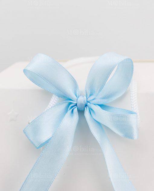 bag regalo bomboniera con fiocco azzurro a 4