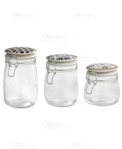 barattoli vetro con tappo ermetico 3 misure linea alhambra brandani