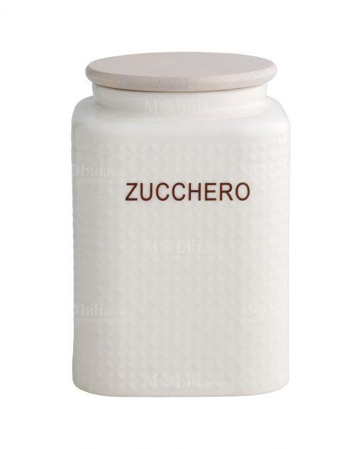 barattolo zucchero porcellana 1 kg con tappo bamboo brandani
