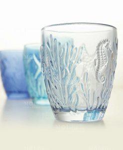 bicchiere acqua soggetti marini a rilieve trasparente collezione pantelleria villa deste