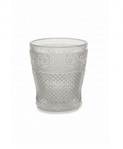 bicchiere acqua vetro decoro geometrico a rilievo collezione prisma villa deste