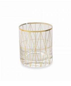 bicchiere trasparente vetro trasparente stampa geometrica oro collezione opera villa deste