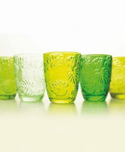 bicchieri acqua set 6 pezzi verde trasparente con foglie collezione cloud jungle villa deste