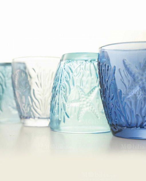 bicchieri acqua soggetti marini a rilievo collezione pantelleria villa deste