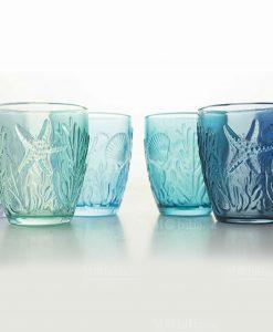 bicchieri acqua soggetti marini a rilievo colori assortiti collezione pantelleria villa deste
