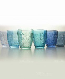 bicchieri acqua soggetti marini a rilievo gradazioni di blu collezione pantelleria villa deste