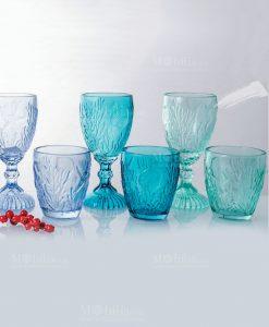 bicchieri tema mare acqua e calici collezione pantelleria villa deste gradazione di blu