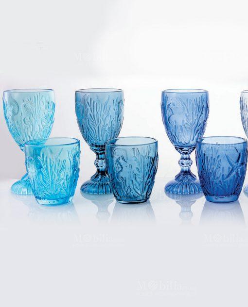 bicchieri tema mare calici e acqua collezione pantelleria villa deste gradazione di blu