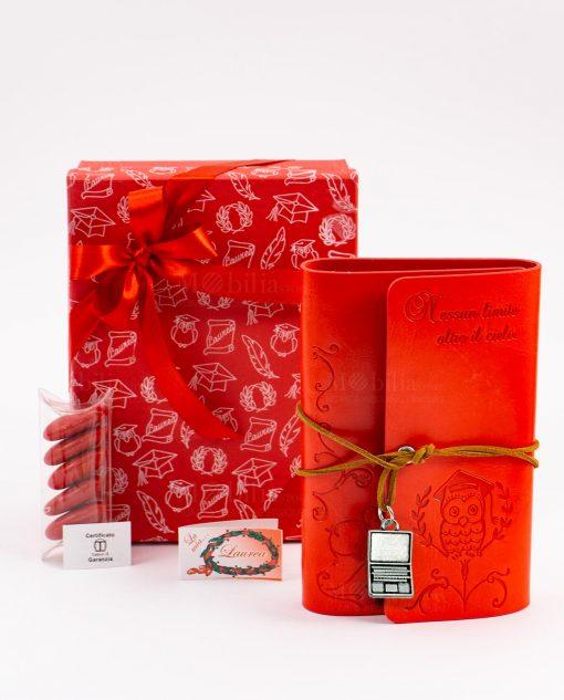 bomboniera agenda notes cuorio rosso con gufo e scritta laccetto e ciondolo computer tabor