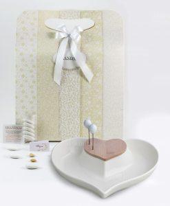 bomboniera antipastiera cuore porcellana bianca e bamboo linea cuorenelcuore brandani