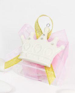 bomboniera appendino calamita corona bianca su scatolina e fiocco rosa e oro