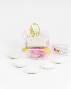 bomboniera appendino calamita corona bianca su scatolina e fiocco rosa e oro bigliettino princess