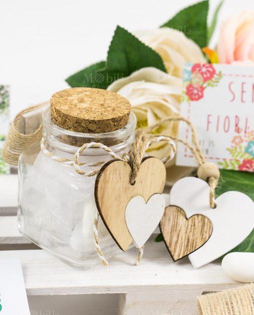 bomboniera barattolino vetro tappo sughero con uore legno