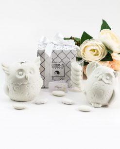 bomboniera basic lampda ceramica bianca gufo due modelli