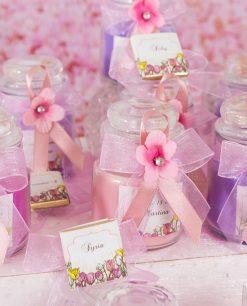 bomboniera candela rosa e segnaposto cioccolattino