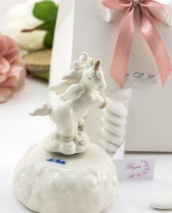 bomboniera carillon porcellana con unicorno